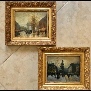 Two Parisian Street Scene Paintings